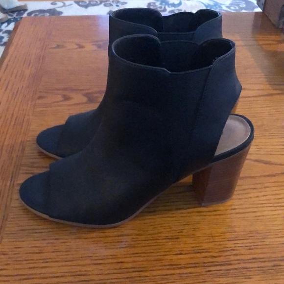 Black peep toe booties